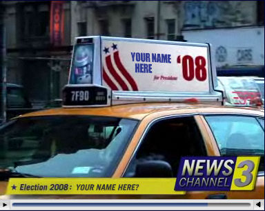 The taxi sign in the video can show any name you choose